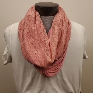 Valentine's Day pink lace infinity scarf